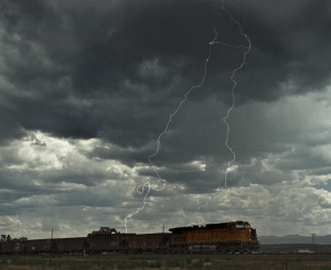 Lightning strikes near a train