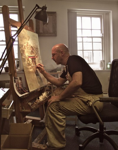 PJ Lynch painting the Revels Poster low res