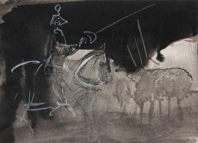 Emanuele Convento - Per Pisanello-battaglia tardogotica, 2013 china e tempera su carta, cm 21 x 28