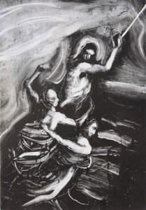 Emanuele Convento - Il male trattiene il bene, 2013 monotipo, mm 490 x 340