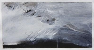 Emanuele Convento - Mostro marino+paesaggio+corvi, 2017 china e tempera su carta, cm 15 x 29