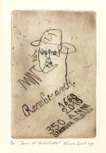 Emanuele Convento - Segno di autoritratto (dalla cartellina Omaggio a Rembrandt), 2019, acquaforte, mm 120 x 180