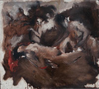 Emanuele Convento - Ninfa e Satiri, 2011, olio su tavola preparata, cm 62 x 68