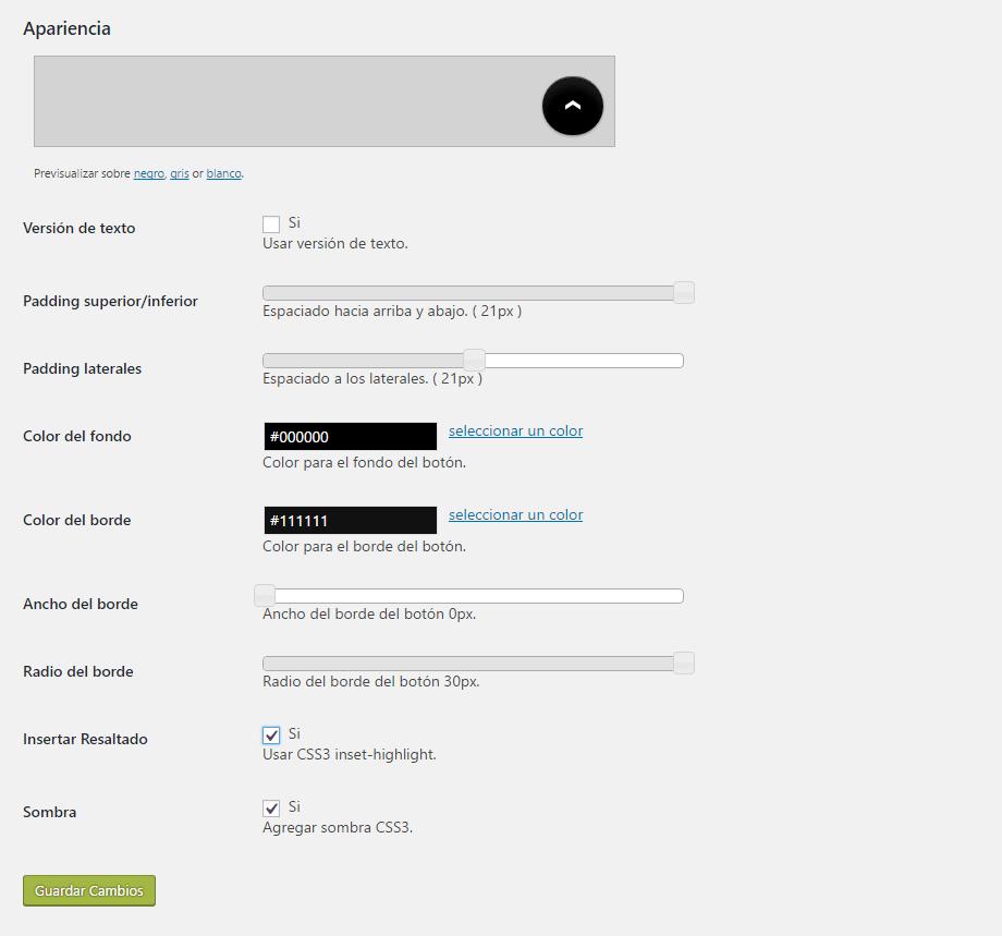 Opciones de Apariencia del botón Ir Arriba