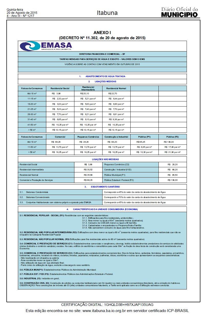 tarifa emasa 2015
