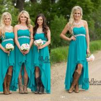 Modest Teal Turquoise Bridesmaid Dresses 2016 Cheap High Low