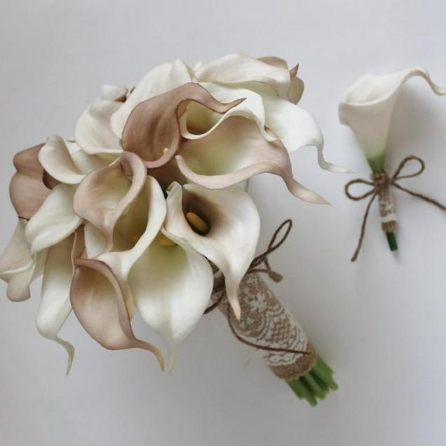 Wedding Bouquet, Bridal Bouquet, Ivory Beige Calla Lily Bouquet
