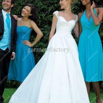 Wedding Bridesmaid Dress Country Style Strapless A Line Knee