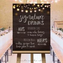 Wedding Signature Drinks Sign Printable, Wedding Drinks Sign