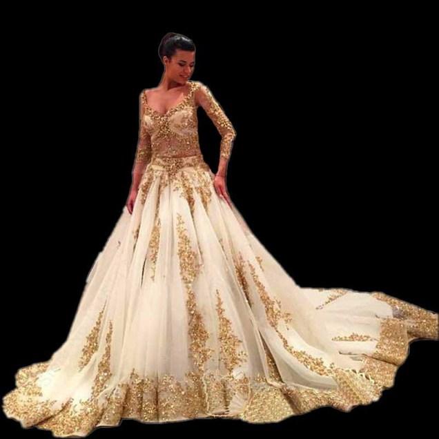 White Gold Wedding Dresses Promotion