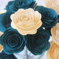 12 Dark Teal & Cream Paper Flowers