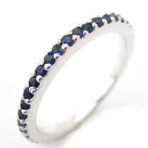 1 00ctw Princess Cut Channel Set Diamond & Sapphire Wedding Band B44