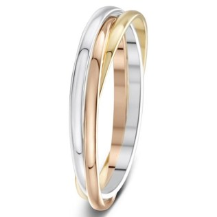 1 5mm 3 Colour Russian Style Wedding Rings