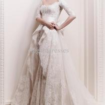 2013 Zuhair Murad Elbow Length Sleeves And Overskirt Wedding