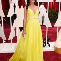 2015 87th Oscar Yellow Beads Evening Dresses Celebrity Dress Shaun