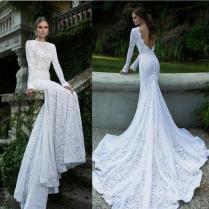 2015 Popular Element Lace Mermaid Wedding Dresses High Collar Sexy