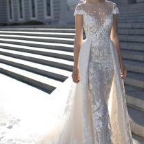2016 Berta Wedding Dresses Cap Sleeves Bateau Illusion Neckline
