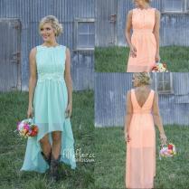 2016 High Low Country Bridesmaid Dresses Lace Mint Orange Modest