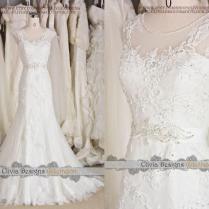 2016 Most Beautiful Vintage Lace Wedding Dress,illusion Neckline
