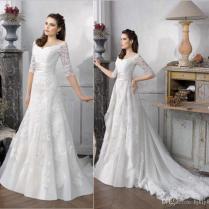 2016 New Wedding Dresses Detachable Train Applique Lace Half