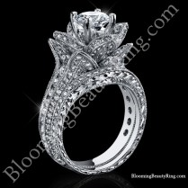 2 08 Ctw Large Hand Engraved Blooming Beauty Wedding Ring Set
