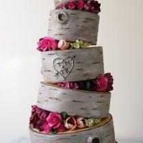 2 Birch Wood Rustic Wedding Cake