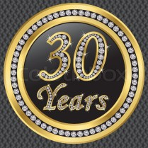30 Years Anniversary Golden Icon With Diamonds, Vector