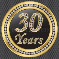 30 Years Anniversary Golden Icon With Diamonds, Vector