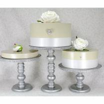 3 Silver Cake Stands Set Round Wooden & Rhinestone Party Cupcake