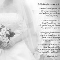 A4 Personalised Poem To Daughter Or Daughter In Law On Wedding Day