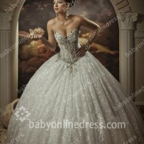 Arabic Bridal Gowns Strapless Sweetheart Sleeveless Lace Ball Gown