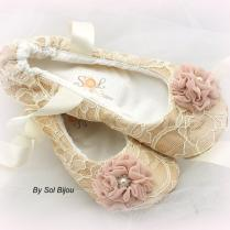 Ballet Flats, Champagne, Ivory, Blush, Wedding Shoes, Bridal