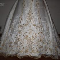 Beautiful Ivory Dress Gold Embroidery Sweetheart A Line Wedding