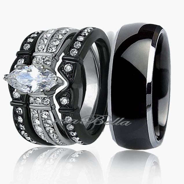 Black Wedding Band Sets Ebay Custom Black Wedding Rings