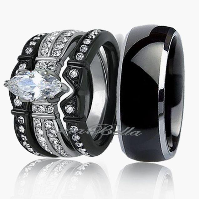 Black Wedding Band Sets Ebay Custom Black Wedding Rings