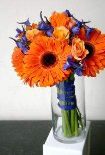 Blue Delphinium, Delphiniums And Orange Roses On Emasscraft Org