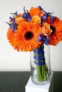 Blue Delphinium, Delphiniums And Orange Roses On Emasscraft Org