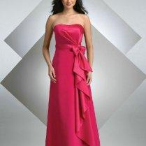Buy Satin Bow Asymmetrical Wedding Fuchsia Bridesmaid Dresses From