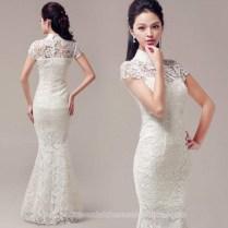 Cap Sleeve White Lace Checonsam Chinese Mandarin Collar Wedding