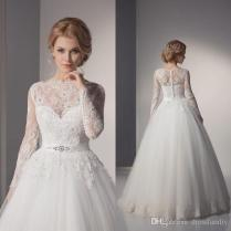 Charming Lace Long Sleeve Vintage Wedding Dress Applique Princess