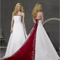Cheap Red And White Strapless Wedding Dresses