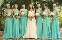 Cheap Short One Shoulder Turquoise Bridesmaid Dresses