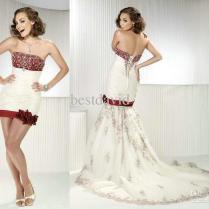 Cheap Two Piece Detachable Mermaid Wedding Dress Strapless Beaded