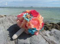Coral, And, Teal, Flower, Bridal, Bouquet, Bridesmaid, Sugar