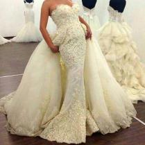 Custom Made Lace Mermaid Wedding Dresses Detachable Train Vestido
