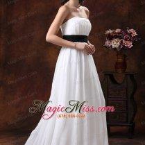 Custom Made White Chiffon Brush Train Wedding Dress With Black