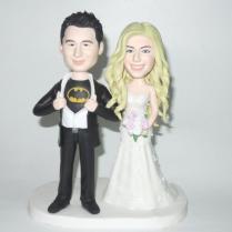 Custom Wedding Cake Topper Funny Batman Theme Cartoon Bride And