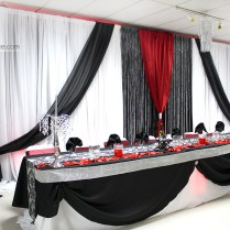 Damask, Black, Red And White Wedding Ceremony And Reception Decor