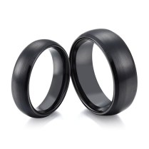 Domed & Brushed Black Ceramic Ring For Men And Women