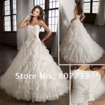 Feather Ruffle Wedding Dress